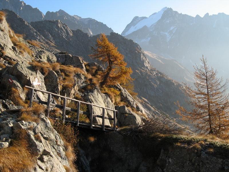 Weggabelung an der Mandronehütte mit Rückblick Richtung Passo Cercen