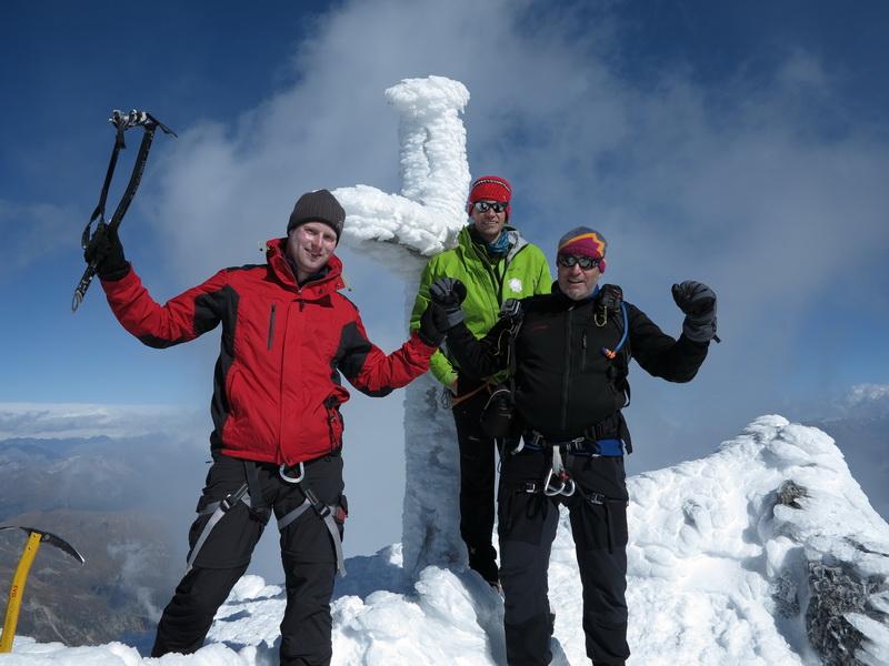 Bergführer Bernhard mit Stephan und mir