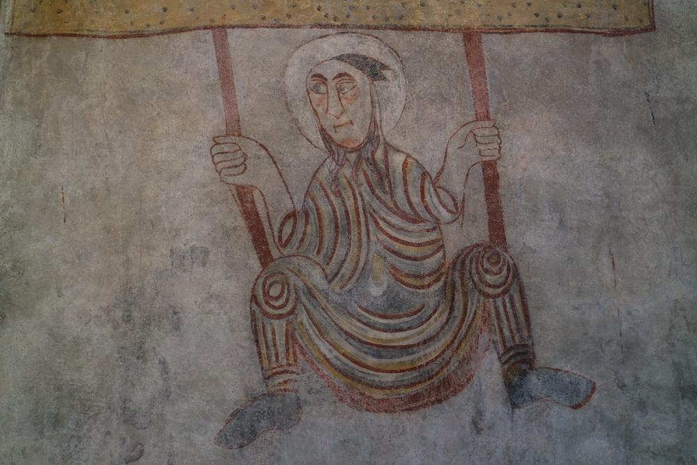 """Fresco """"Der Schaukler"""" in der Kirche St. Prokulus (Um 800)"""