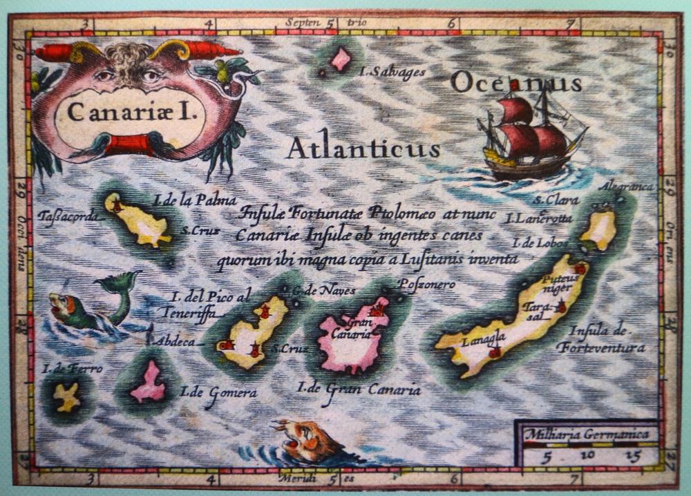Historische Karte der Kanaren- Nachdruck im Castillo de San Gabriel (Arrecife)