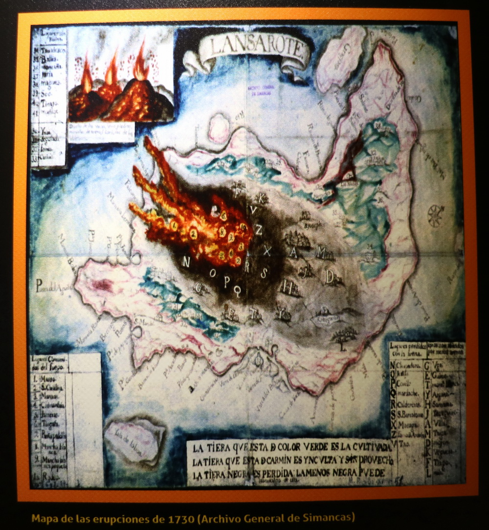 Historische Darstellung der Vulkanausbrüche 1730-1736 (Museum Castillo de San Gabriel)