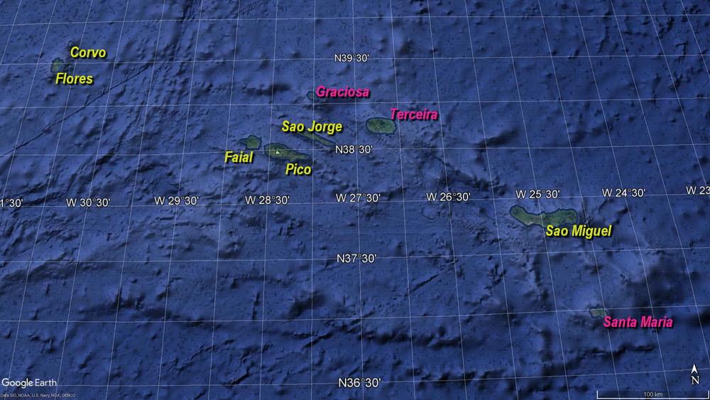 Die Azoren- Besuchte Inseln (Gelb markiert)
