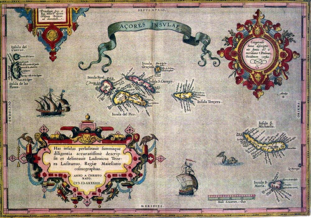 Alte Seekarte der Azoren