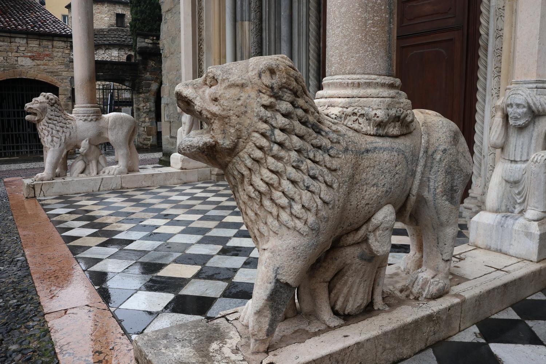 Weiße Löwen am Südportal Basilika S.Maggiore