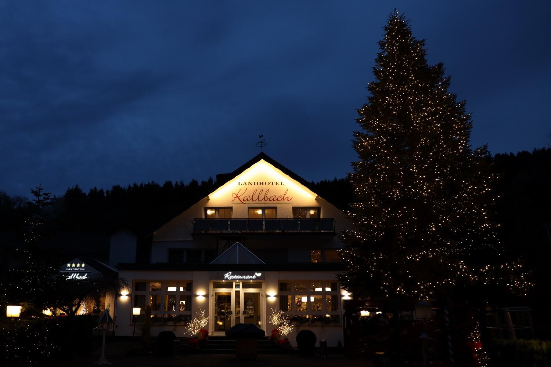 Landhotel mit Weihnachts- Tanne