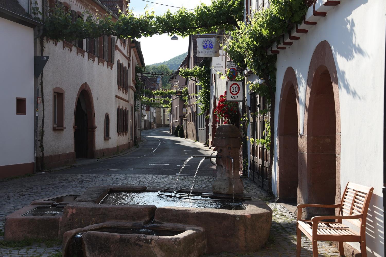 Gasse in Leinsweiler mit Wasch- Brunnen