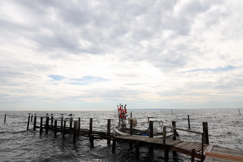 Steg mit Fischerboot in Vitt