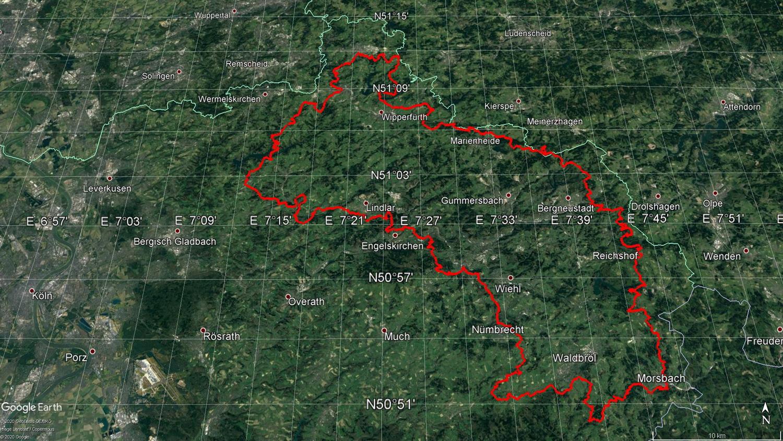 Gesamtstrecke des Bergischen Panoramasteigs 244 Kilometer