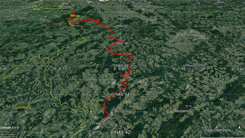 Gesamtstrecke Eifelsteig 313 Kilometer
