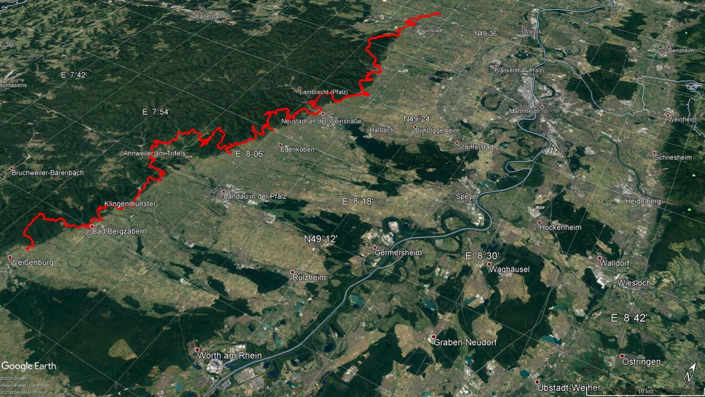 Gesamtstrecke des Pfälzer Weinsteigs 172 Kilometer