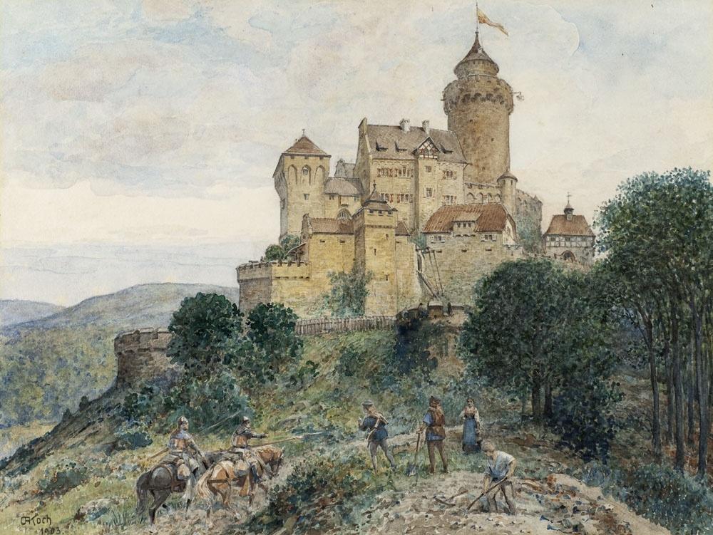 Rekonstruktion Falkenburg Auarell 1903 (Quelle und Rechte Lippisches Landesmuseum Detmold)