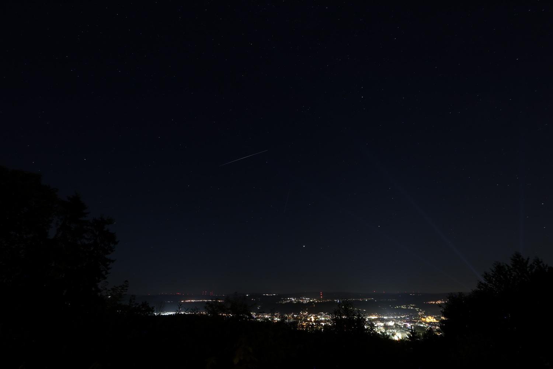 Trier bei Nacht mit Laser und Perseide