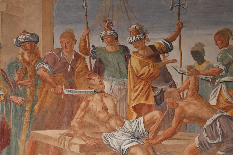 Enthauptungsszene im Kreuzgang des Franziskanerklosters