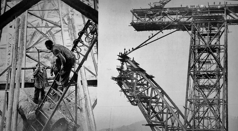 Bei den Bauarbeiten- Historisches Foto